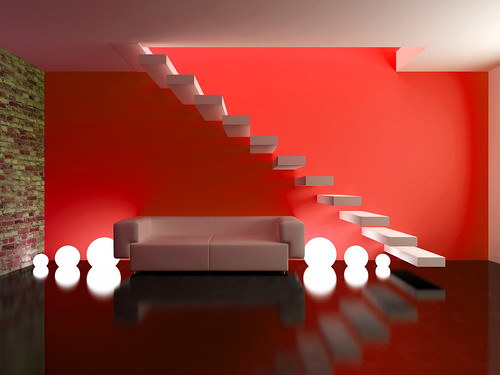 Living Room Design Red VIew Point