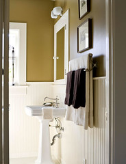 Ideas for the bathroom: Classic brown + white + 'Walnut' by Ralph Lauren Paints (xJavierx) Tags: brown classic bathroom design paint masculine interior clean decorating decor ralphlauren neutral beadboard wainscoting tailored brownandwhite pedestalsink paintcolors whitetrim traditionalhome paintinspiration
