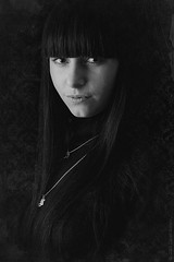 LadyBlack (Danny Q-DJah) Tags: portrait bw woman white black texture face lady grainy noise blackdiamond postprocessing treatments stealingshadows qdjah danielborisov