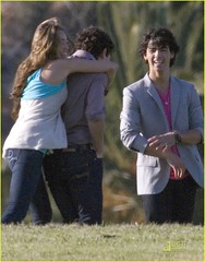 NILEY HUG SEND IT ON! (TakeMileyAlong) Tags: friends music cute for video hug kiss kevin brothers nick joe it disney send belle change demi camilla cyrus jonas 2009 selena gomez channel nemi pledge miley lovato niley redge jaylor nelena
