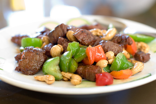 Stir-fried Beef Tenderloin with Cashews and Peppers