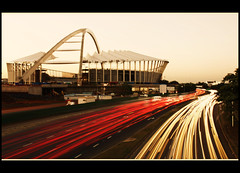 Stadium Traffic - Moses Mabhida Stadiun, Durban RSA (Africa Dave) Tags: africa cars lights football construction traffic stadium fifa soccer south trails trail worldcup build 2010 durban southaftica durbansouthafrica 50shots mosesmabhida