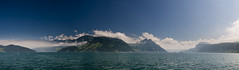 Lake Lucerne panorama (biologo) Tags: sky panorama lake mountains alps water weather clouds schweiz switzerland boat suisse svizzera vierwaldstttersee wetter circularpolarizer swissalps lakelucerne svizra gersau nidwalden lacdesquatrecantons kantonschwyz rotschuo cloudyandblue