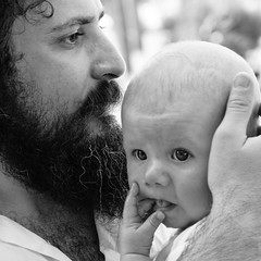 Isaac (SurfaceSpotting) Tags: people blackandwhite bw baby monochrome hair square blackwhite hands isaac greece crete staring humans christos kriti hersonisos d40 michaelides d40x sideras surfacespotting georgemichaelides