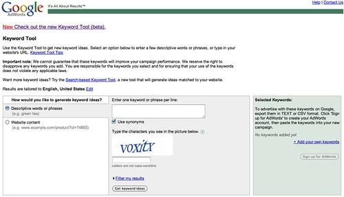 Google Keyword Tool (External OLD)