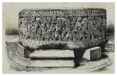 007-Vista lateral de la piedra del sol en el museo de Mexico-Les Anciennes Villes du nouveau monde-1885- Désiré Charnay