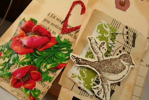 Vintage Tags bird and flower