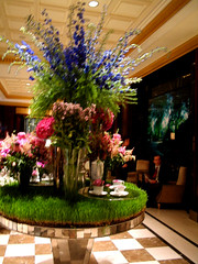 NYC 2011 075 (catchesthelight) Tags: nyc flowers english hotel tea centralpark manhattan interior historic lobby celebration angelinajolie celebrities artdeco renovation deco judelaw 59thst photoshop40 mirroredtable jumeirahessexhouse nationaltrusthistorichotelsofamerica essexhouseneonsign