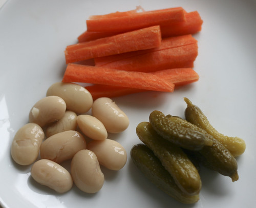 Carrots, butter beans and pickles