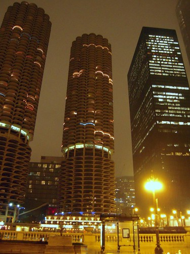 Marina Towers On A Rainy Night
