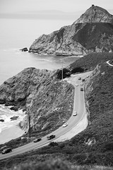 Windy Curvy Road ({Connie} Constanza Natalino | Photography) Tags: ocean california road sea blackandwhite art cars water canon landscape photography photographer hills halfmoonbay constanzanatalino