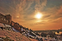 Something's Gotten Hold Of My Heart (borkodinus Photography) Tags: winter sunset sky sun snow clouds golden lyrics nikon serbia grain vivid belgrade nikkor 1001nights fortress beograd impression usce kalemegdan softcell d40 contralight belgradefortress