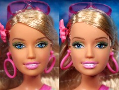 Beach Glam Barbie's Two Faces (Charles (dollstuff.net)) Tags: beach face swim eyes doll paint head barbie glam mold swimsuit variations screening mattel variation 2007 newface sculpt mainline playline k8383