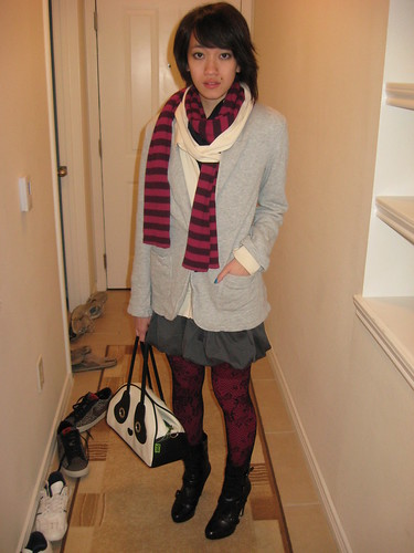 Knit Blazer, Gap; Cream hoodie, Lux; Grey balloon hem dress, F21; Scarf, Gap; Pink tights, Hue; Lace tights, Leg Avenue; Boots, Boutique 9; Panda bag, Pandorama