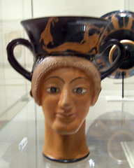Terracotta Kantharos (drinking cup with high handles): Two female heads (peterjr1961) Tags: nyc newyorkcity newyork art museum themet metropolitanmuseumofart