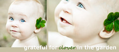very grateful (sesame ellis) Tags: baby green girl happy nikon diptych infant grateful clover d3 racheldevine wwwracheldevinecom