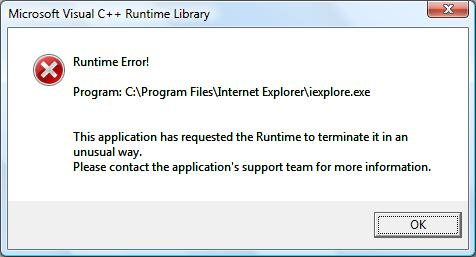 IE 7 runtime error
