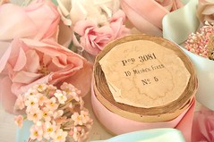 Vintage Supplies (such pretty things) Tags: pink flowers roses holiday floral hat rose vintage french diy spring aqua pastel crafts velvet stamens tuesday target bolts rolls ribbon chic satin bonnet tulle eater millinery shabby forgetmenots