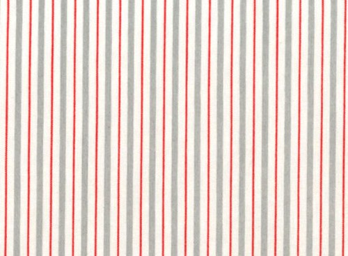 Lecien Color Basic - Grey, White, and Red Stripe