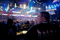 the fan (xgray) Tags: color digital canon person eos lights fan texas audience wrestling crowd houston 5d fans 24mm wwe wrestlemania reliantstadium canoneos5d xxv uploadx professionalwrestling ef24mmf14lusm postedtophotographersonlj wrestlemania25