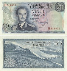 Luxemburgo - 20 Francs 1966 (Luis Pedroso) Tags: money notes collection note notas luxembourg currency nota banknote papermoney luxemburgo cedula coleco