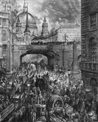 London 1880's (davidconnellan) Tags: road street uk england people london europe cityscape chaos many fineart group visualarts dirty busy transportation prints disorder stpaulscathedral confusion urbanscenes cityoflondon engravings europeanperiodorstyle intaglioprints transferprints westerneuropeanperiodorstyle overpopulation citydweller socialissues politicalandsocialissues innerlondon frenchperiodorstyle ludgatehill architecturaltheme gustavedore victorianperiodorstyle ludgatehillablockinthestreetbygustavedore