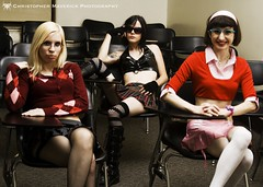 Schoolgirls-1 (chrismaverick) Tags: woman sexy nerd stockings girl beauty sweater punk photoshoot geek goth models piercing tattoos blonde fishnets sultry brunette schoolgirl marybeth miniskirt amaya shortskirt clfsv thighhigh mercirae
