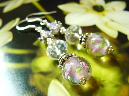 #GBER148 = ROSES ARE PINK SGD$25 Lampwork Earrings = Pink Flowers Glass  Lampwork Beads From Australia with  Crystal Rondelles . Swarovski Crystal Rounds in Rose Opal Color and 925 Sterling Silver Findings. Measures about 5cms including hooks.
