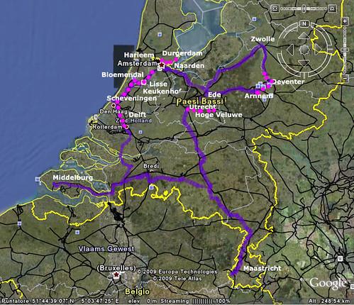 mappa dell'Olanda in bici