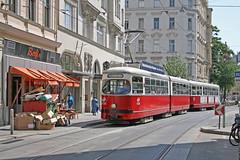 Siebensterngasse - Wien (Austria) (Meteorry) Tags: vienna wien red public rouge austria sterreich europe transport tram facades streetcar e1 tramway vienne autriche beiwagen meteorry publique triebwagen berfin siebensterngasse wienerstadtwerke