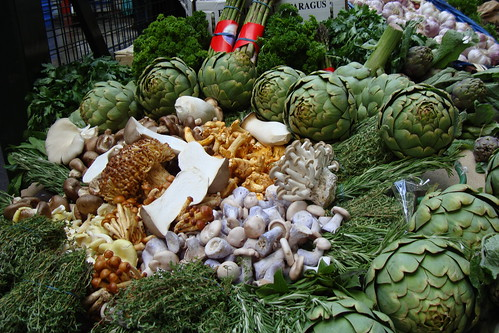 Borough Market, London: Vegetable display