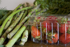 CSA Week 2 Supplies - Asparagus and Strawberreis