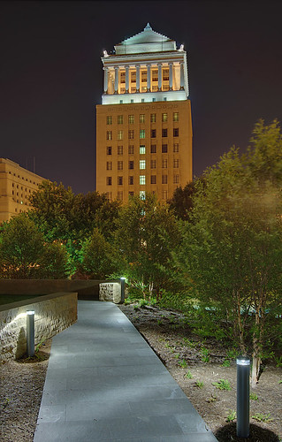 "Civil Courts Building at night, as seen from the ""Citygarden"", in downtown Saint Louis, Missouri, USA"