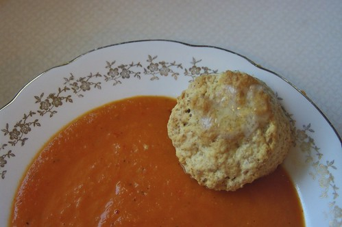 Roasted Tomato Soup with Biscuits