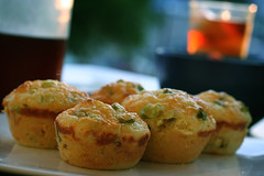 cheddar & green onion cornbread muffins (ginnerobot) Tags: summer food sun dinner recipe table muffins picnic tea bokeh tasty sidedish cornbread cheddar greenonion bakedgood inagartenrecipe