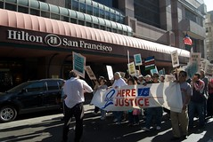 Local 2 hotel workers march past the Hilton for a fair contract (Steve Rhodes) Tags: sf sanfrancisco california ca march labor union protest august frankchu economy 2009 unitehere hotelworkers uniteherelocal2 local2 august09 august2009 august92009