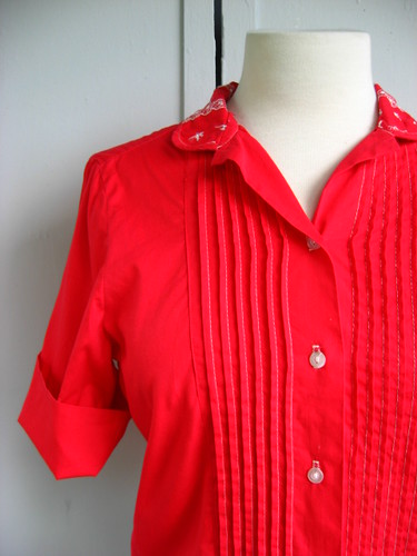 cherry red pintucks + embroidered collar blouse