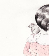 Sneeeeeek (Sarah McNeil) Tags: art animal illustration pencil hair rat pretty dress exhibition peek leeloo sneak piedpiper onceupon