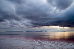 Drama Unfolding (Scott Haefner) Tags: sunset utah greatsaltlake kap kiteaerialphotography earthwork spiraljetty