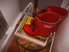 New Wellies (jteore) Tags: wellies rulers rainydays hatbox magnetboard hunterboots whatismodernpainting