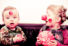 72 365 - Red Nose Day: Caption please!? (Ly (Lyanne Wylde Photography)) Tags: charity funny violet rednose laugh cyrus comicrelief whoopeecushion rednoseday rnd 13march09 1foreveryfave