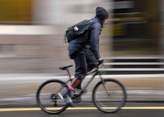 White goatee (jeremyhughes) Tags: street city urban motion blur london bike bicycle speed beard cycling goatee movement nikon cyclist mountainbike messenger d200 nikkor courier panning rider messengerbag bikemessenger specialized nikond200 bikecourier