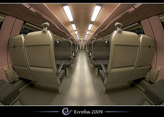 Train or spaceship interior ? (Erroba) Tags: train interior spaceship mirrored symmetry perspective seats nmbs sncb dubbeldekker enterprise belgium belgi belgique canon 400d rebel xti hdr 1xp tripod remote sigma 10mm fisheye photoshop cs3 tips erroba erlendrobaye erlend robaye 2ndclass goldstaraward