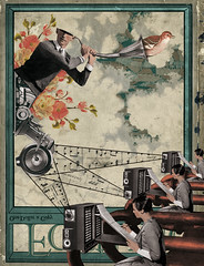 Artfices del sonido (Randy Mora) Tags: old flowers sky music green bird college students collage illustration digital vintage magazine design robot women revista perspective machine free retro musical sound ear randy noface score 2009 hear publication sonido mora artfices randymora bacnika
