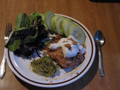 Pecan-crusted tzatziki salmon