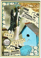 ATC - Take Flight ~Available~ (Nostalgic Collage) Tags: music bird clock atc collage vintage egg birdhouse whimsical
