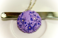 beautiful lilac pendant (Chili Crab) Tags: flowers summer one spring chili crystal handmade ooak violet crab jewelry kind fimo lilac etsy brass 2009 pendant polymer swarovsky