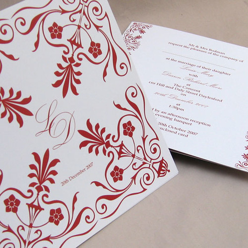 Victoriana red wedding invitation from mini Moko, Wedding invitation idea, wedding invitation sample, victoriana red, wedding invitation, flowers, photos