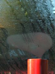 I love coffee (rambla) Tags: morning red love home cup window coffee drops heart mug condensation wakingup offtowork