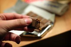 caramel chocolate bar (ginnerobot) Tags: food dessert hand bokeh chocolate caramel sarris